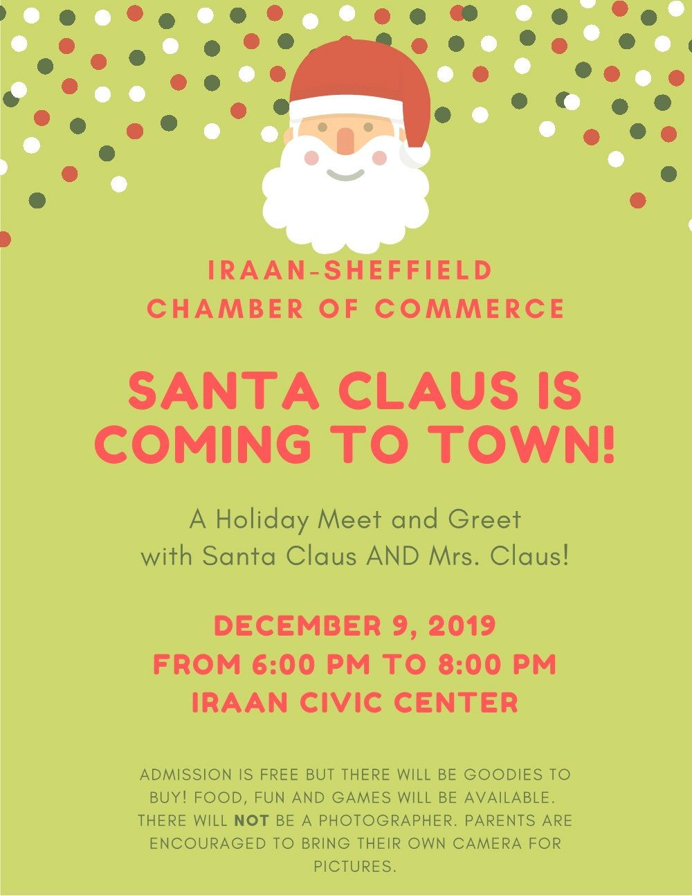 SANTA!!!!!! @ Iraan Civic Center