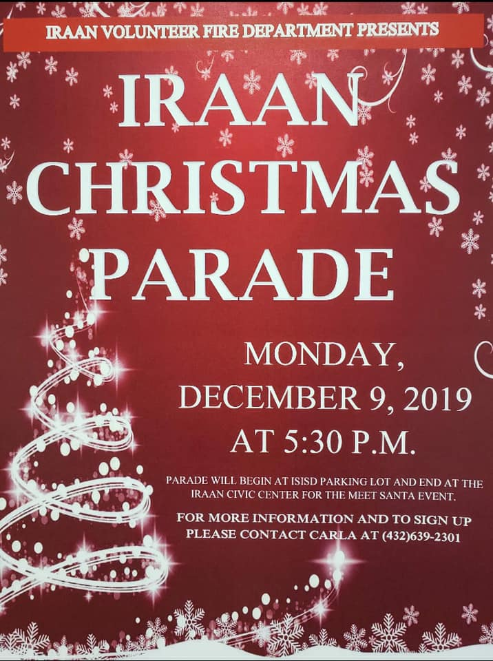 Christmas Parade in Iraan! @ ISISD High School Parking Lot